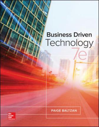 Test Bank for Business Driven Technology 7th Edition Baltzan