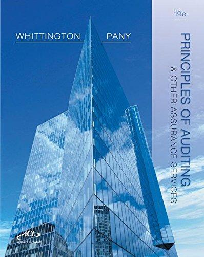 Solution Manual for Principles of Auditing and Other Assurance Services 19th Edition By Ray Whittington