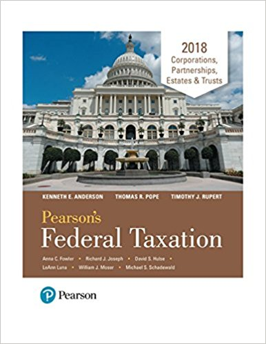 Test Bank for Pearson's Federal Taxation 2018 Corporations
