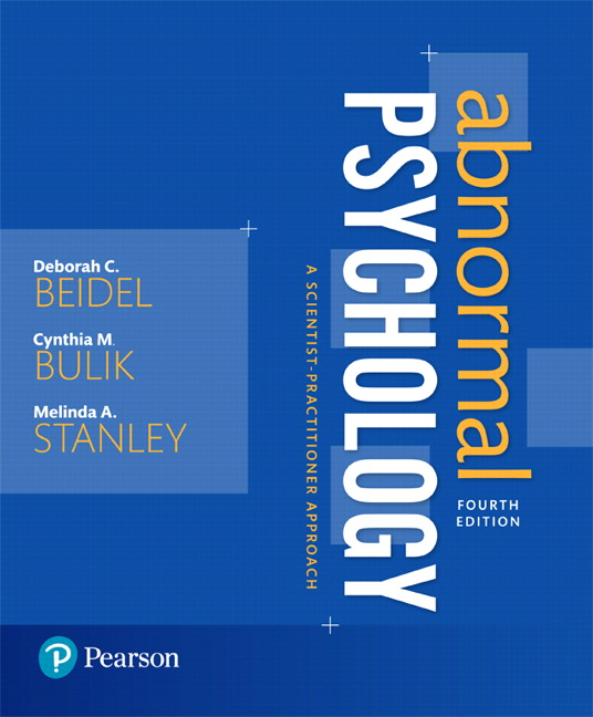 Table of Contents 1. Abnormal Psychology: Historical and Modern Perspectives 2. Research Methods in Abnormal Psychology 3. Assessment and Diagnosis 4. Anxiety, Trauma- and Stressor-Related Disorders 5. Obsessive-Compulsive and Impulse Control Disorders 6. Somatic Symptom and Dissociative Disorders 7. Bipolar and Depressive Disorders 8. Feeding and Eating Disorders 9. Gender Dysphoria, Sexual Dysfunctions, and Paraphilic Disorders 10. Substance-Related and Addictive Disorders 11. Schizophrenia Spectrum and Other Psychotic Disorders 12. Personality Disorders 13. Neurodevelopmental, Disruptive, Conduct, and Elimination Disorders 14. Aging and Neurocognitive Disorders 15. Abnormal Psychology: Legal and Ethical Issues