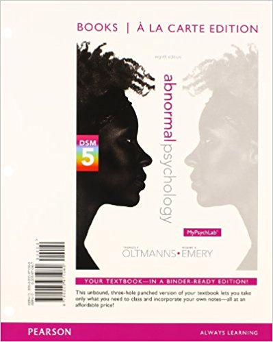 Test Bank for Abnormal Psychology 8th Edition By Thomas F. Oltmanns